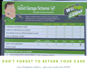 Good Garage Scheme feedback card